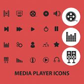 media player, music, audio records isolated icons, signs, symbols, illustrations, silhouettes, vectors set