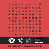 100 internet, communication, connection isolated icons, signs, symbols, illustrations, silhouettes,