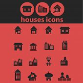 houses isolated icons, signs, symbols, illustrations, silhouettes, vectors set