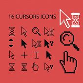 16 cursors isolated icons, signs, symbols, illustrations, silhouettes, vectors set