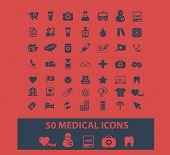 50 medical, health, hospital, doctor isolated icons, signs, symbols, illustrations, silhouettes, vec