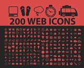 200 website, internet page, isolated icons, signs, symbols, illustrations, silhouettes, vectors set