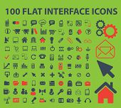 100 flat interface, infographics isolated icons, signs, symbols, illustrations, silhouettes, vectors