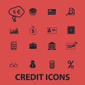 credit bank, investment, money isolated icons, signs, symbols, illustrations, silhouettes, vectors s