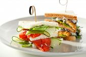 Fish and Vegetables Club Sandwich