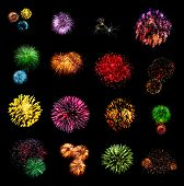 stock photo of firework display  - Fireworks set isolated on a black background - JPG
