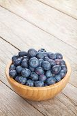 Blueberries in bowl on wooden table background with copy space