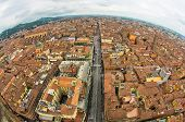 Fisheye cityscape view from two towers, Bologna, Italy