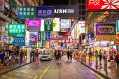 HONG KONG , CHINA - AUG 13 : Mongkok at night on August 13, 2014 in Hong Kong, China. Mongkok in Kow
