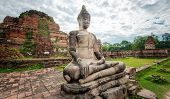 Buddha statue in Wat Mahathat temple in Ayutthaya, Thailand