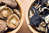 pic of judas  - jelly ear and shiitake mushrooms in wooden bowls - JPG