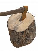 Fire Wood Log And Old Rusty Axe Isolated Over White