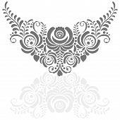 Ornate elegant vector floral frame in Gzhel style