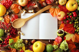 stock photo of recipe card  - open cookbook - JPG