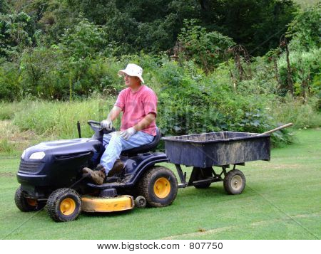 Happy Senior doing Yardwork poster