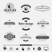 Retro Vintage Labels Logo design vector typography inspiration template set.  Old style elements, business signs, logos, label, badges and symbols. Design Studio Logotype collection