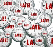 Late word on clocks flying by to illustrate being tardy, overdue or behind schedule and the need to hurry or rush to catch up