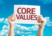 Core Values card with sky background