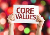 Core Values card with colorful background with defocused lights