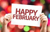 Happy February card with colorful background with defocused lights