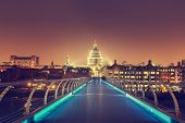 St. Paul Cathedral and millennium bridge, London , UK