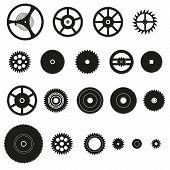 Various Cogwheels Parts Of Watch Movement Eps10