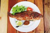 main portion of two grilled fish served on plate with tomatoes and spices