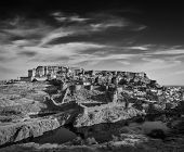 Mehrangarh Fort and Padamsar Talab and Ranisar Talab lakes , Jodhpur, Rajasthan, India. Black and white