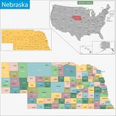 image of nebraska  - Map of Nebraska state designed in illustration with the counties and the county seats - JPG