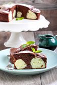 picture of cake-ball  - Chocolate cake with coconut cheese balls on plate - JPG
