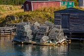 image of trinity  - A tumbled down stack of lobster traps in coastal Newfoundland near Trinity - JPG