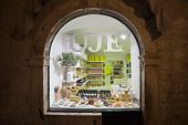 DUBROVNIK, CROATIA - MAY 26, 2014: Street window of shop called Uje (Dalmatian word for oil) selling traditional and hand made things.