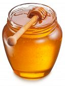 Glass can full of honey and wooden stick in it. Clipping paths.