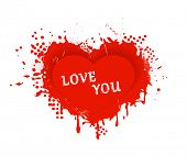 Red heart with ink splashes, scratches and stains and the wording: LOVE YOU. Great design element for any love theme as Valentine's Day.