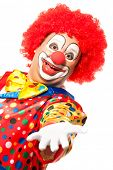 Portrait of a smiling clown isolated on white