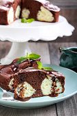 foto of cake-ball  - Chocolate cake with coconut cheese balls on plate - JPG