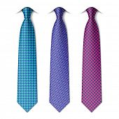 Houndstooth and zigzag patterns ties. Vector.