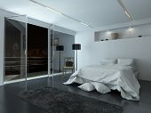 3D Rendering of Elegant white modern bedroom interior with large view windows overlooking a night sky and balcony illuminated by recessed down lights with cool grey and white decor