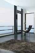 3D Rendering of Chair overlooking the ocean through a floor-to-ceiling glass wall in a modern coastal living room with a balcony and door with a beige rug on the floor