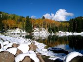 Autumn Lake With Snowy Rocks