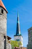 View The Rooftops And Church Spiers Of The Old Town Tallinn