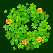 Green vector clovers and golden coins circle