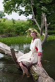 picture of undine  - girl in russian traditional clothes against river - JPG