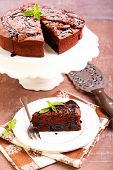 image of torte  - Prune and chocolate torte slice - JPG