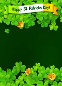 image of triskele  - Happy Saint Patricks Day vector green background with clovers and golden coins - JPG
