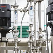 Measure Equipment, Pipe And Pump On Pharmaceutical Industry