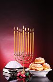 image of hanukkah  - Festive composition for Hanukkah on dark background - JPG