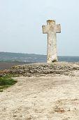 Old Stone Moldavian Orthodox Cross In Orhei,moldova