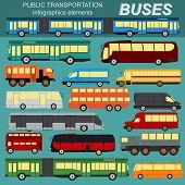 Public transportation, buses. Set elements infographics.