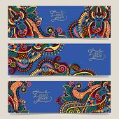 three horizontal banners with decorative ornamental flowers,